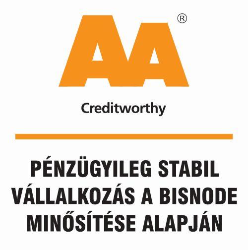 Cégünk pénzügyileg stabil vállalkozás az Európában piacvezető Bisnode cégminősítő szerint is. Megkaptuk tőlük az AA-s minősítést, melyre a magyar vállalatok 1.75%-a jogosult...