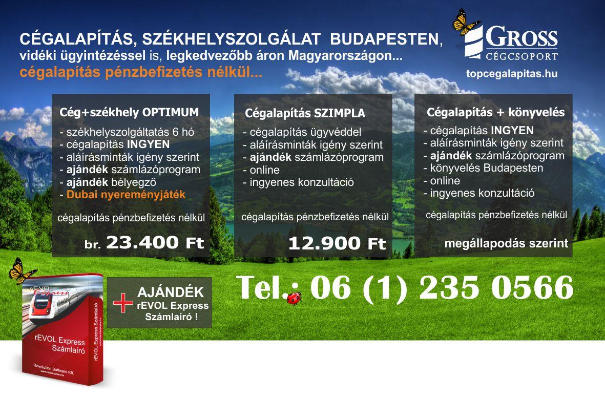 Kft alapítás INGYEN, tőkebefizetés nélkül Budapesten székhelyszolgáltatással, ajándék számlaíróval.