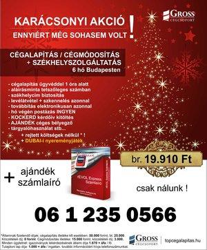 Akciós karácsonyi ajánlat budapesti székhelyszolgáltatás és cégalapítás vagy cégmódosítás esetén