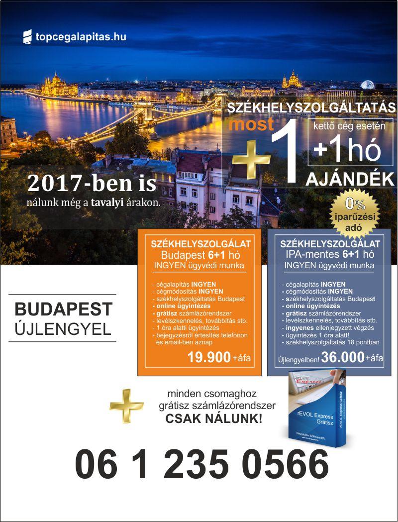 székhelyszolgáltatás 2017-ben még a tavalyi árakon - Budapesten és Újlengyelben iparűzési adó mentes helyen is...