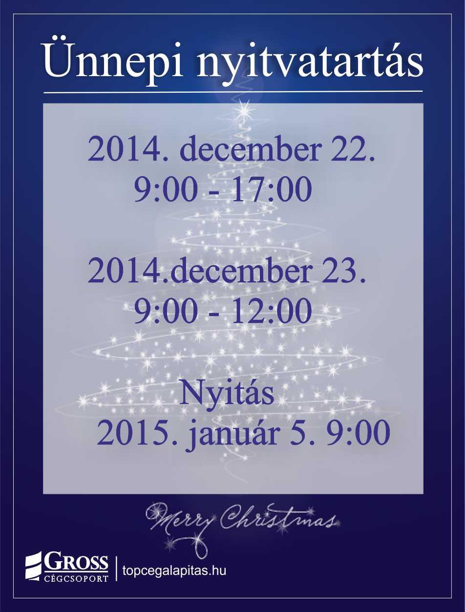 Decemberi ünnepi ügyfélfogadás székhelyszolgáltató irodáinkban